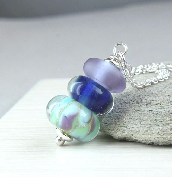 Colorful Lampwork  Necklace Sterling  Silver Glass Jewelry