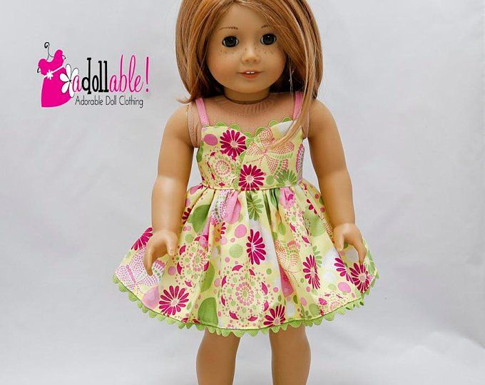 9fd721304d4d0 Fits like American Girl doll clothes, yellow/pink/orange sundress ...
