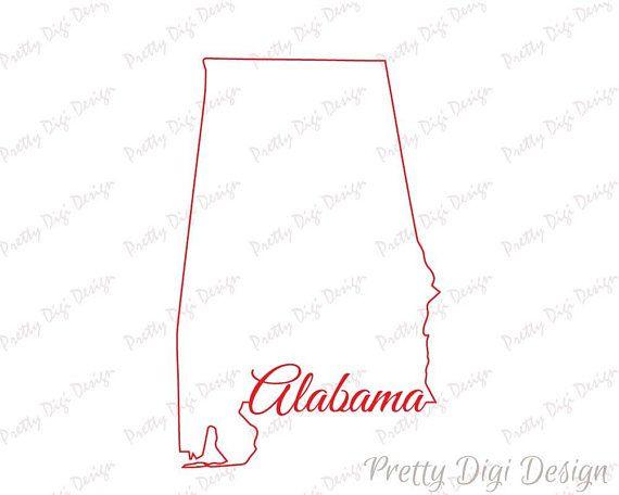Digital Alabama line map shape design Alabama jpg png eps