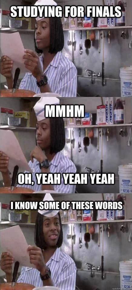 Studying for finals. Ha! -