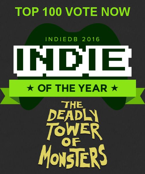 IndieDB are having the 7th Annual Indie of the Year Awards. Check out The Deadly Tower of Monsters on IndiedDB and if you like it, blast DToM into fame it deserves and vote for it on IndieDB! Let's see if we can get in the TOP 10! :) Here's the link: http://www.indiedb.com/games/the-deadly-tower-of-monsters #ACETeam #VideoGames #Gaming #GameDev #IndieDev #IndieGame #IndieGames #PCGame #PCGames #Steam #ActionGames #AtlusUSA #SciFi #ScienceFiction #BMovie #IndieDB