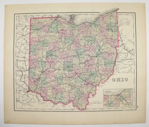Vintage Map of Ohio 1876 O.W. Gray Map, Ohio Wedding Gift for Couple, Unique Office Gift for Coworker, Antique Ohio Map, Original 1800s Map available from OldMapsandPrints on Etsy