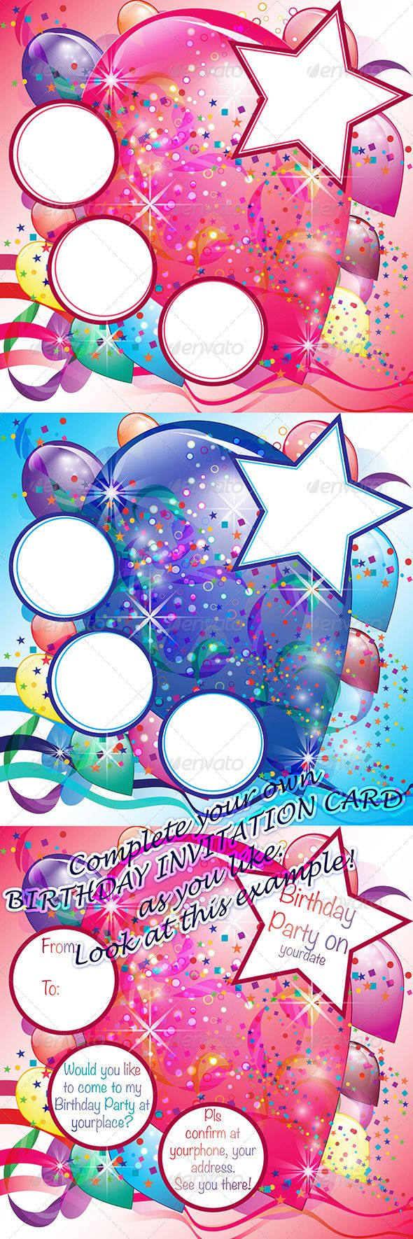 Set of Birthday Party Cards with Balloons/