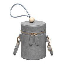 Mujeres de la moda bolso de la PU gris Barril de cuero en forma de bolsa de perlas mujeres Crossbody de la bolsa de mensajero de lujo Diseño Mini señoras Bolsas de hombro (China (continental))
