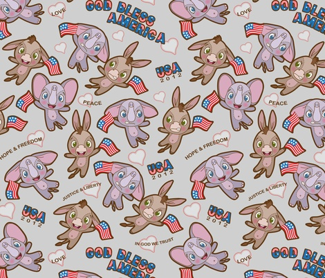 This week's theme at Spoonflower is elephants and donkeys.  I tried to pick the ones that were less political, but these guys were too cute not to vote for.  2012 US Elections fabric by woodmouse