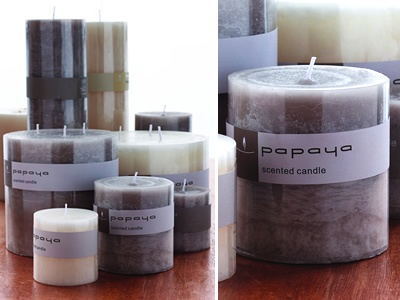 Papaya Cold Pour Scented Candles  Our classic, lightly fragranced candles come in many sizes so you're sure to find the right candle for your new hurricane or votive.    Hand cold-poured with the finest quality German wicks for maximum burn time.    Colour variances may occur due to the nature of the product. Best to trim wick after burning and to not burn for more than 3 hours at a time.    Available at Papaya Online  http://papaya.com.au/product-details.aspx?ProductCode=CAN157WEB