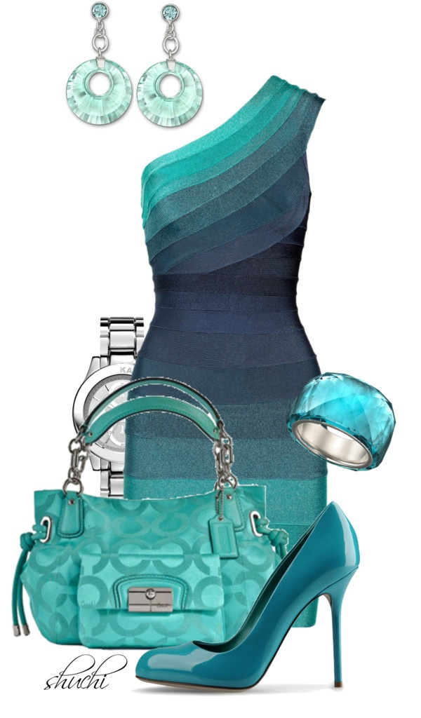 """Hervé Léger Ombré Blue"" by shuchiu on Polyvore....To matchy matchy, but I'm in love with that dress!"