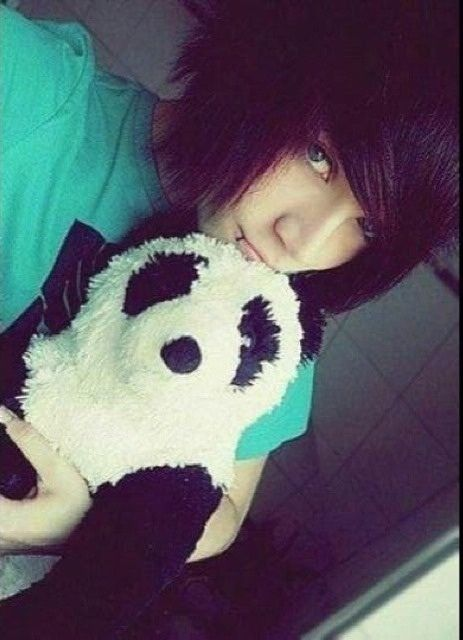 Emo boy with a stuff panda bear ohhhh how cute I think I might die from this cuteness