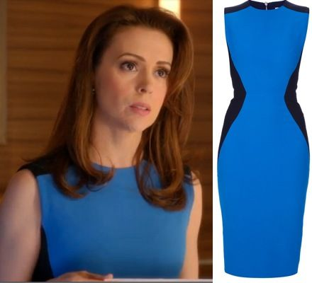 Mistresses episode 11: Savi's (Alyssa Milano) blue and black color block Victoria Beckham Hourglass Detail Dress #getthelook #mistresses