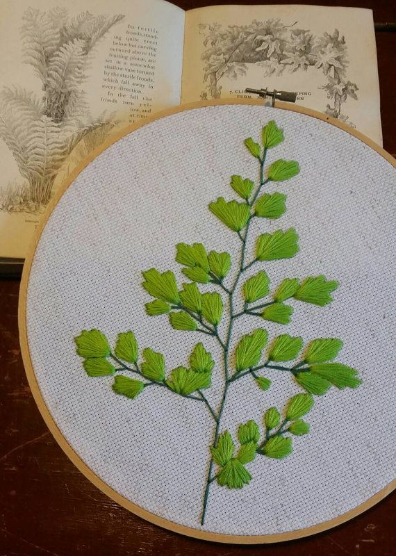 Maidenhair Fern embroidery  by Leah Murphy by FiddleheadFineCrafts