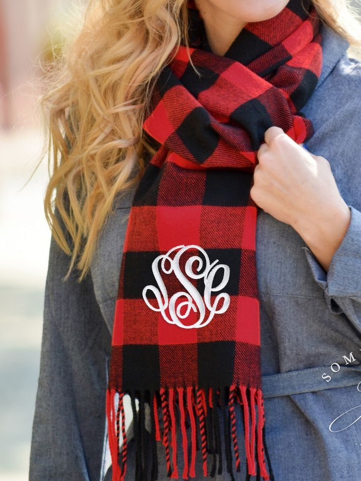 Something You - Monogrammed Red and Black Buffalo Check Scarf - Personalized Unisex Scarf, $24.95 (http://www.somethingyou.com/new/monogrammed-red-and-black-buffalo-check-scarf-personalized-unisex-scarf/)