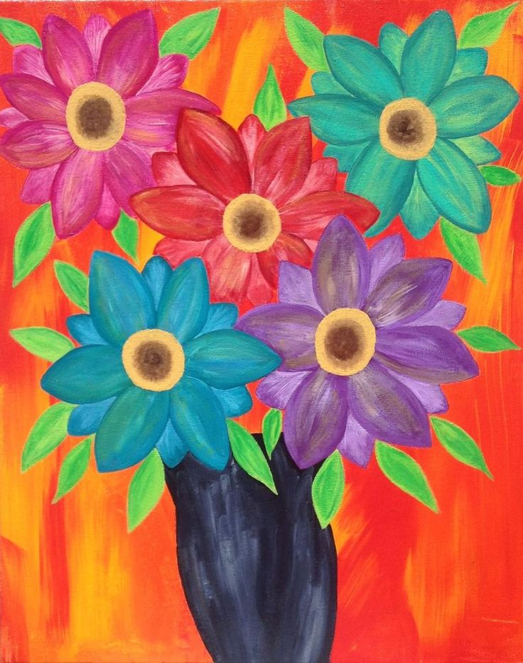 Mexican Folk Art Flowers Modern Fire Gerber Daisies ...