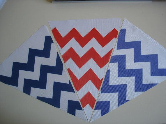 Fabric Bunting Chevron Navy Red Blue Combination by customflag, $19.00
