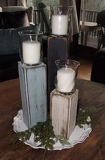 simple pillars for candles. Instead of glass, small veggie cans can be used, and screwed into the wood. Jazz up the can.