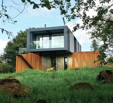 Grillagh Water - Patrick Bradley architects with 4 shipping containers. orange rusted steel... My future house inspiration