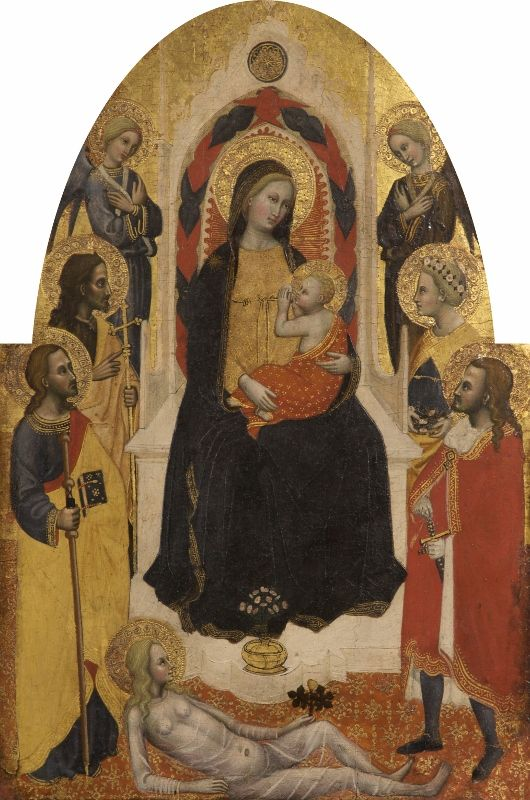The Virgin and Child with Angels and Saints  Master of the Straus Madonna, 1390 - 1395 from the Astley Cheetham Art Collection in Tameside. Visit www.gmmg.org.uk/to find more