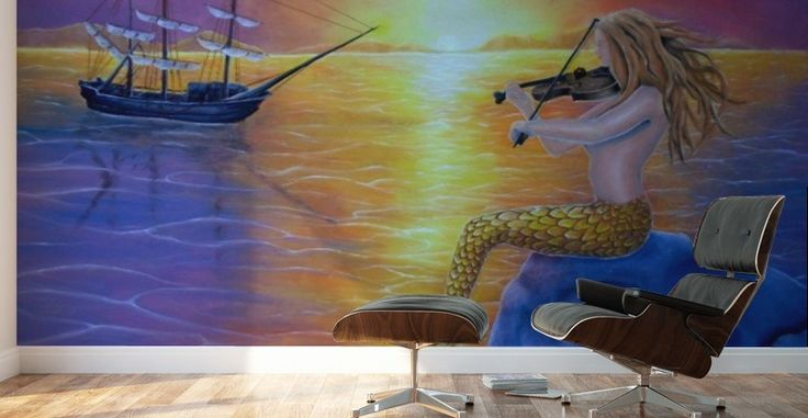 Mural Print, mermaid, home decor, ideas, wall art, for sale, painting, ocean,scene,fish,merpeople,fantasy,sunset,sea,sunlight,nude,feminine,ship,sailboat,marine,nautical,violin,fiddle,player,music,romantic,atmospheric,rock,mythological,magical,vivid,colorful,purple,beautiful,awesome,cool,figurative,imaginary realism, images,modern,items,hand painted,pictorem