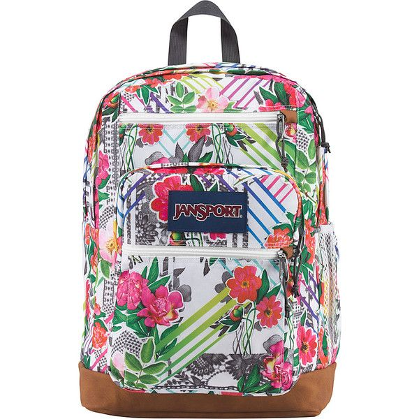 JanSport Cool Student Backpack - Collage Floral - School Backpacks ($55) ❤ liked on Polyvore featuring bags, backpacks, pink, jansport, jansport backpacks, pocket backpack, shoulder strap backpack and pink faux leather backpack