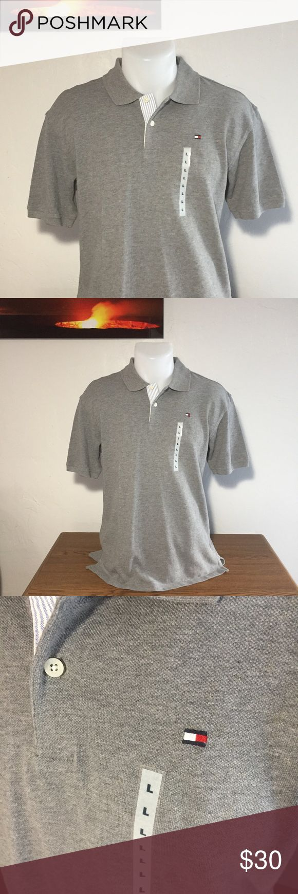 """Men's - NWT Tommy Hilfiger Gray Polo Shirt Brand new with tags!! It has the Tommy flag logo embroidered on the left chest.  Approximate measurements: Total length - 26 1/2"""" Armpit to armpit - 20 1/4"""" Sleeve length - 9 1/2""""  🚫Sorry, no trades or modeling🚫  M1083 Tommy Hilfiger Shirts Polos"""