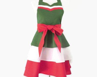 Women's Green White & Red Apron, Italian Retro Apron, Italian Apron, Italian Hostess Apron, Italian Bridal Shower, Red Green Christmas Apron