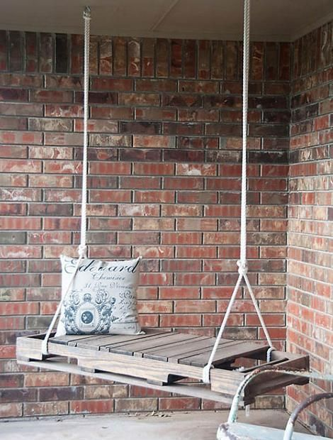 Cool Idea make a swinging seat out of a pallet, & hang it. I would make a seat cushion for it though