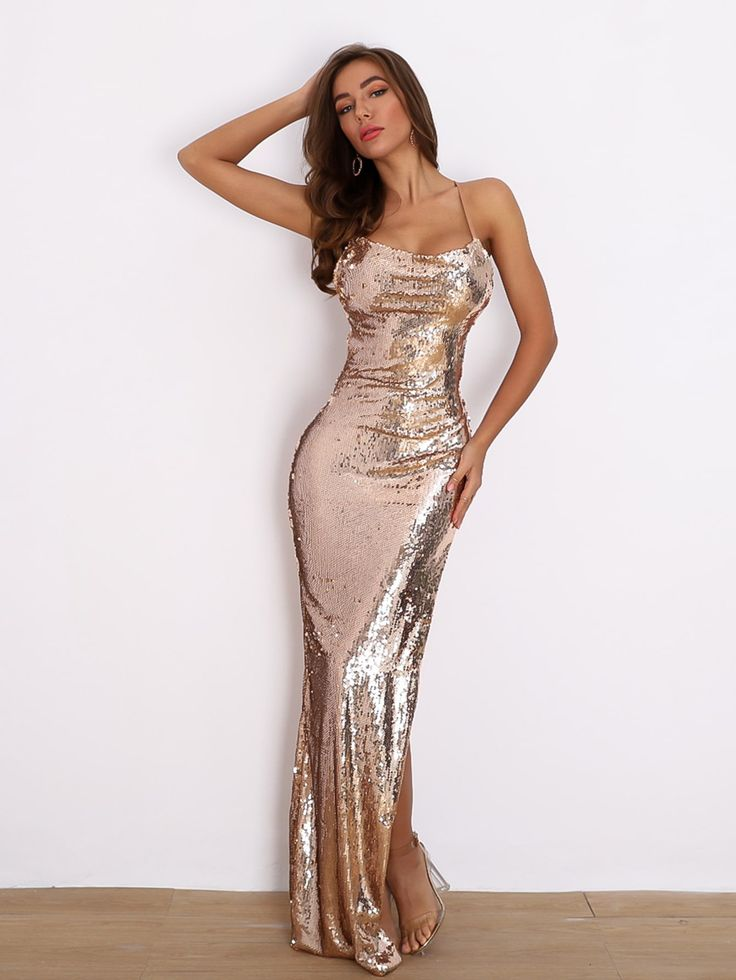 Nude Pink Sequins Mermaid Bridesmaid Dresses With Short