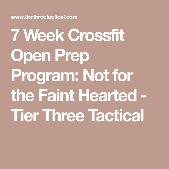 7 Week Crossfit Open Prep Program: Not for the Faint Hearted - Tier Three Tactical