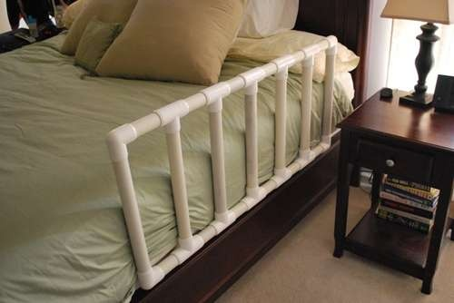 Save money by making your own toddler bed guard with PVC pipe. (via Instructables.com)