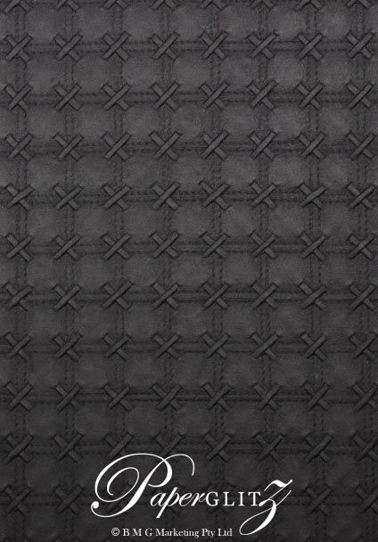 Handmade Embossed Paper - Cross Stitch Black Pearl A4 Sheets