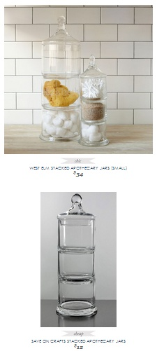 Copy Cat Chic Find | WEST ELM STACKED APOTHECARY JARS (SMALL) VS SAVE ON CRAFTS STACKED APOTHECARY JARS