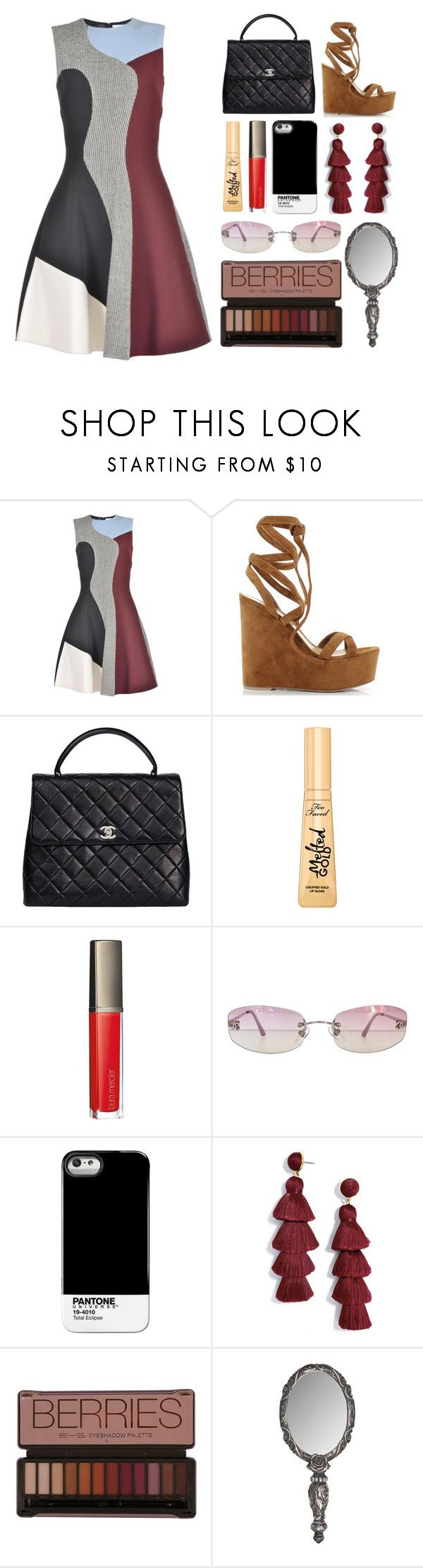"""""""7.091"""" by katrinattack ❤ liked on Polyvore featuring Victoria Beckham, Gianvito Rossi, Chanel, Too Faced Cosmetics, Laura Mercier, Pantone Universe, BaubleBar, wedding and polyvorefashion"""