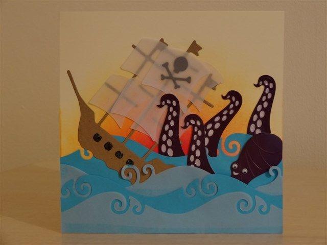 'Have a Kraken Birthday' handmade card made using Xcut Build-A-Scene Dies.