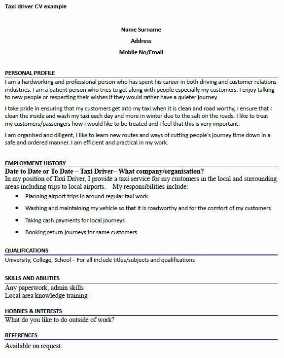 Uber Driver Job Description Resume Luxury Taxi Driver Cv Example Icover Driver Job Job Description Teacher Resume Examples