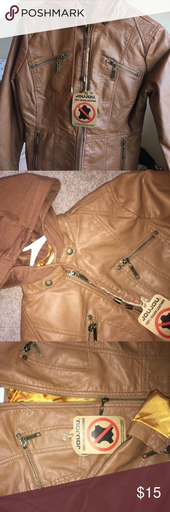 carmel colored vegan hooded leather jacket brand new awesome vegan leather joujou Jackets & Coats