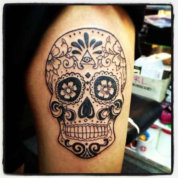 They can be black and white. | 41 Amazing Sugar Skull Tattoos To Celebrate Día De Los Muertos