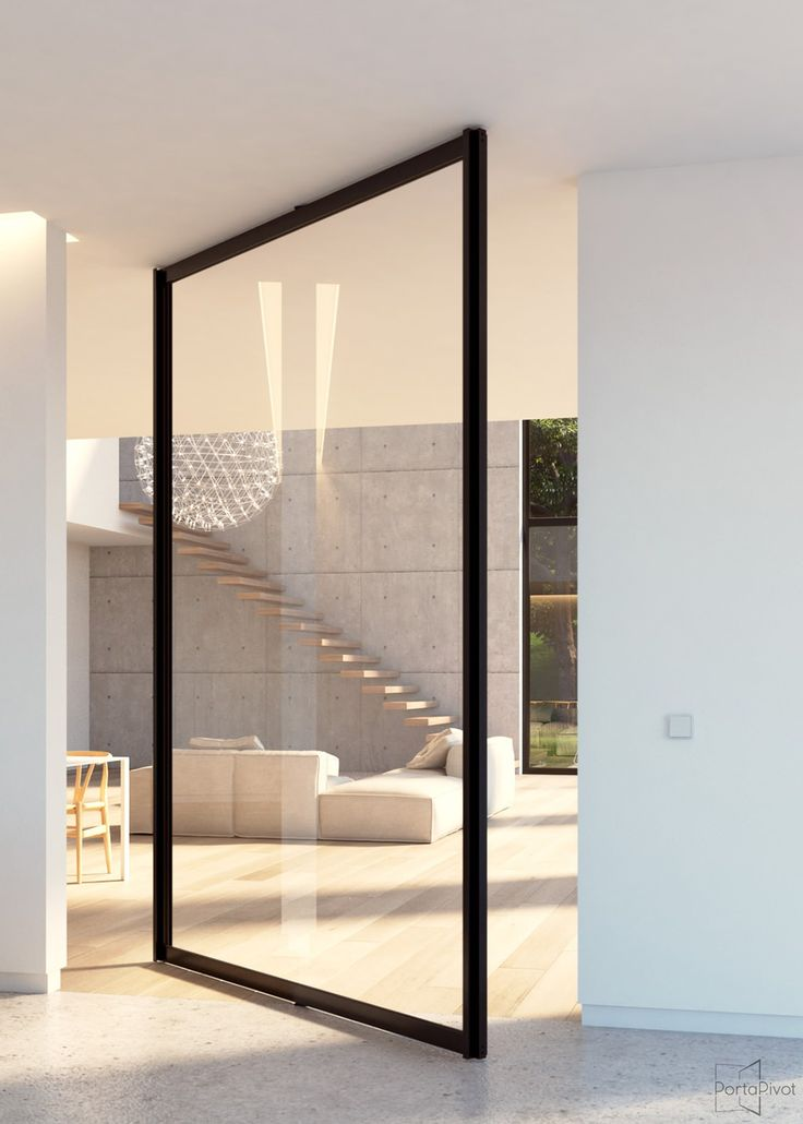 Glass pivot door with central axis pivoting