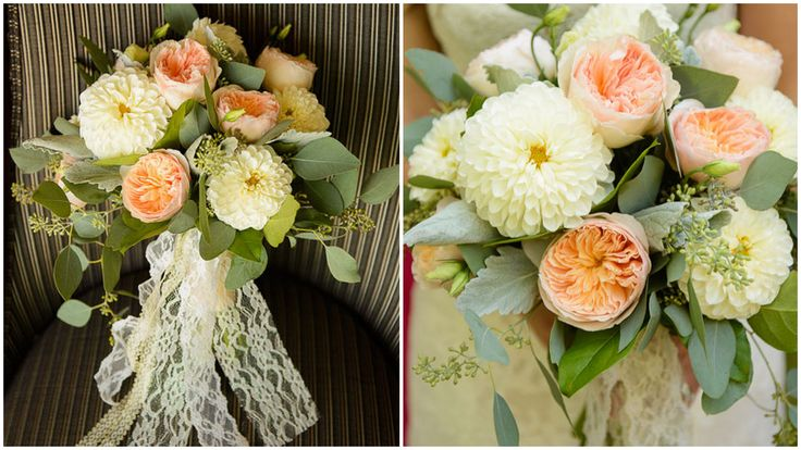 Beautiful bridal bouquet with peach garden roses and ivory dahlias