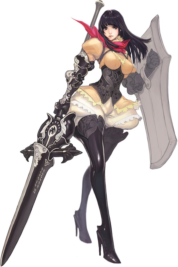 1girl black_hair black_legwear boots breasts full_body greaves high_heels highres holding_shield lance long_hair looking_at_viewer polearm puffy_pants puffy_sleeves purple_eyes shield simple_background solo standing thigh_boots thighhighs weapon white_background
