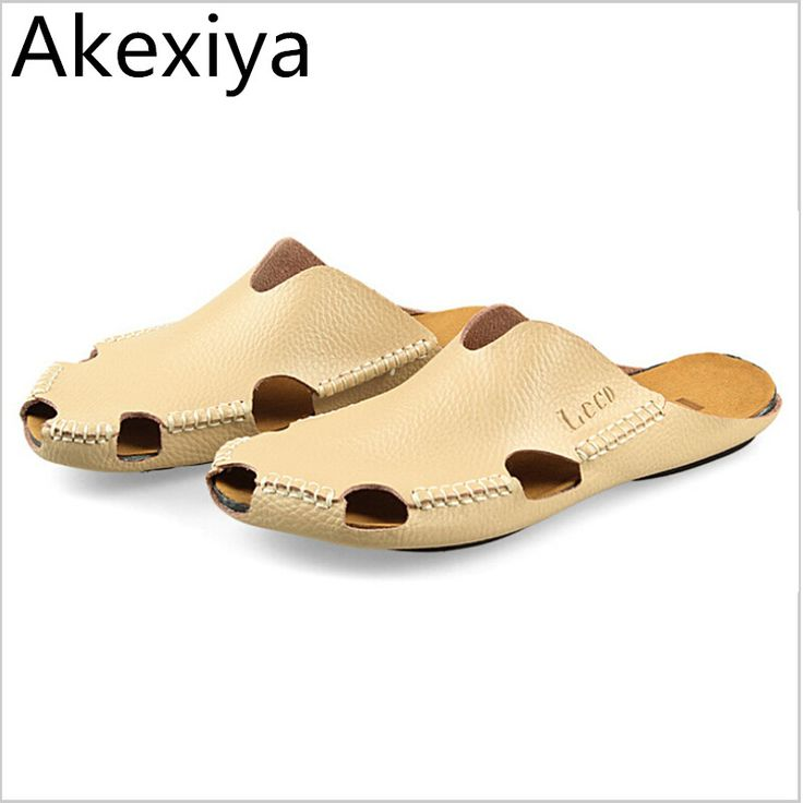 Akexiya Men Sandals Summer 2017 New Men's Leather Slippers Header With Flat Sandals Men Sandals Summer Shoes Free Shipping