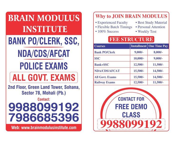Brain Modulus Institute offer Best BANK PO CLERK SSC CGL NDA CDS Coaching in mohali. Best bank po coaching in mohali call us- 9988099192, 7986685396