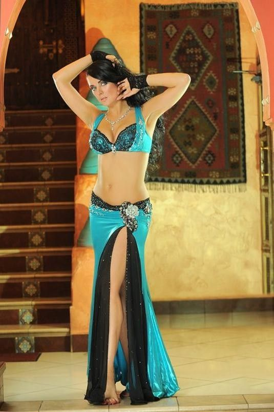Belly Dance Costume black lace and aqua. Might attempt a homemade version