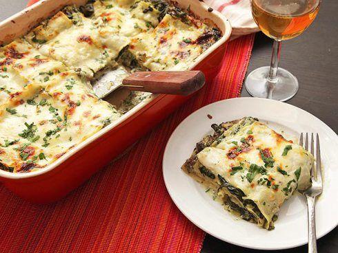 vegetarian lasagna, spinach mushroom