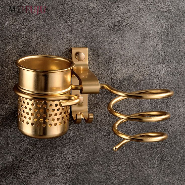 New Golden hair dryer rack with cup drier comb holde Households Rack Hair Blow Dryer Holder Aluminum Shelf Bathroom Accessories