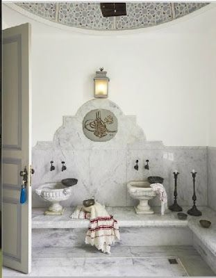 """That bathroom, looking like something you would find in a Hammam (turkish bathroom) is, without a doubt, one of a kind."""