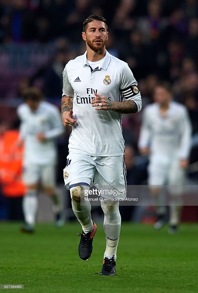 Sergio Ramos of Real Madrid looks on during the La Liga match between FC Barcelona and Real Madrid CF at Camp Nou stadium on December 03, 2016 in Barcelona, Spain.