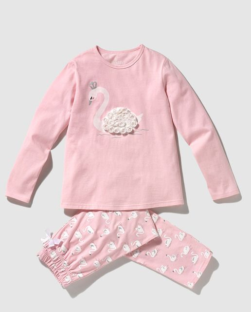 Pijama de niña en rosa con print de cisne