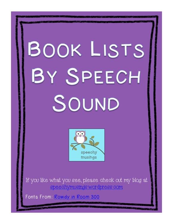 Speechy Musings: Book Lists by Speech Sound Downloadable FREEBIE