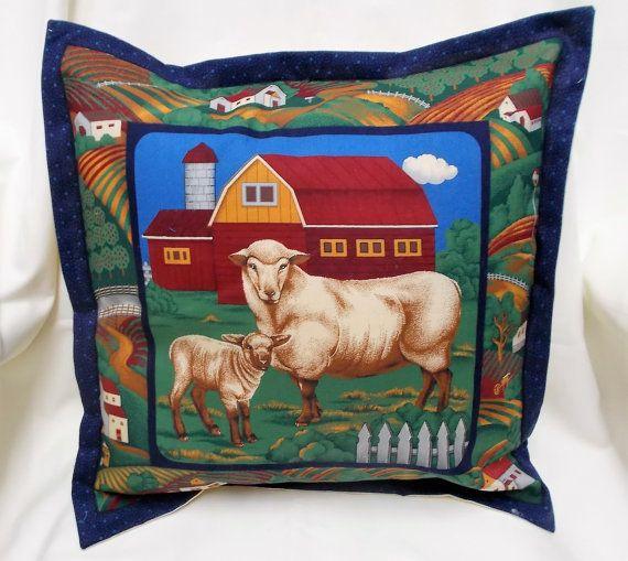 Sheep Cushion cover, Sheep and Lamb on Fabric, Sheep gift for pet lovers, Lambs gift, Farm yard pillow, farm animals cushion covers,