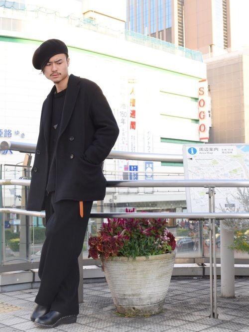 オールブラックコーデ。 冬は黒が落ち着きますね。 メルトンセットアップ、とてもかっこいいので皆様も着