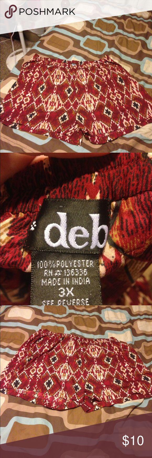 Deb Aztec print shorts 3X Aztec print shorts by Deb.  Elastic waist. Deb Shorts Skorts